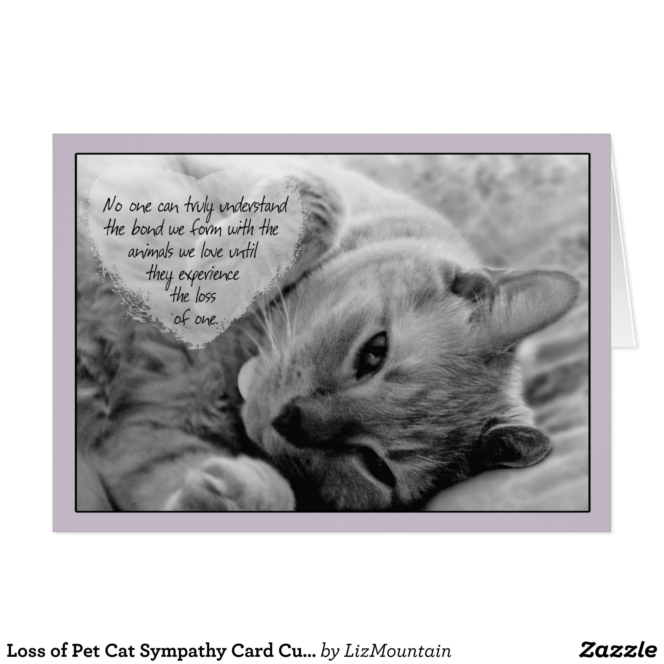 Zazzle Custom Cards - Sympathy Card Loss of Cat -Cuddly Cat ...