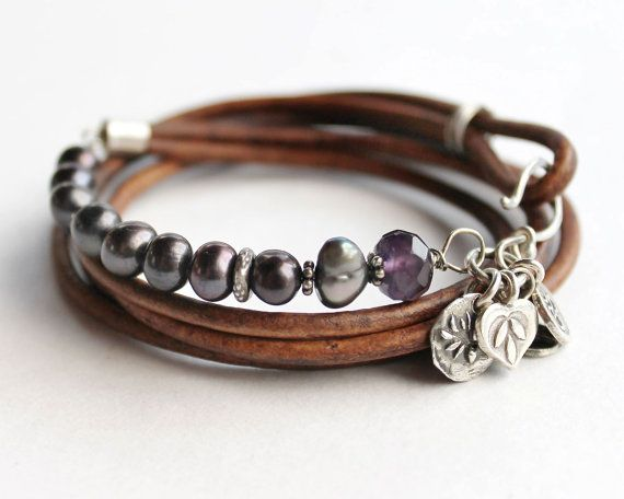 Peace Multi-wrap Pearl and Leather bracelet with peacock pearls. 6-8mm Baroque…