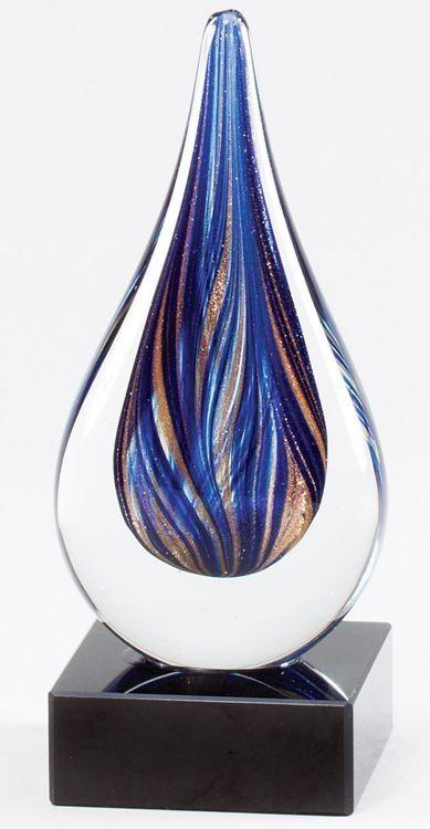 Blue Teardrop Glass Art Award Glsc45 Free Engraving Glass Art Sculpture Glass Awards Glass Art