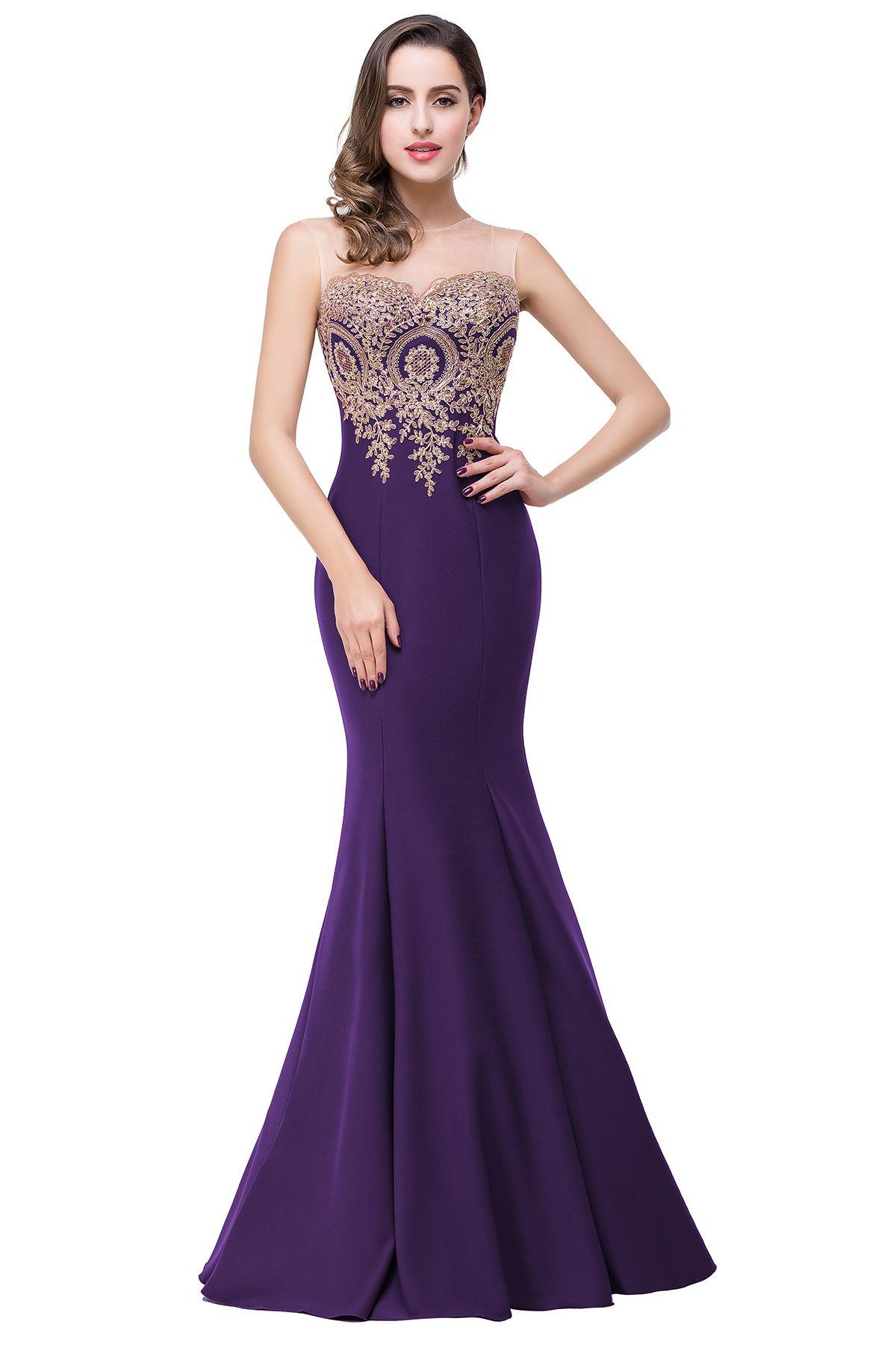 Cheap Purple Long Evening Dresses 2016 Mermaid Evening Gowns Robe de ...