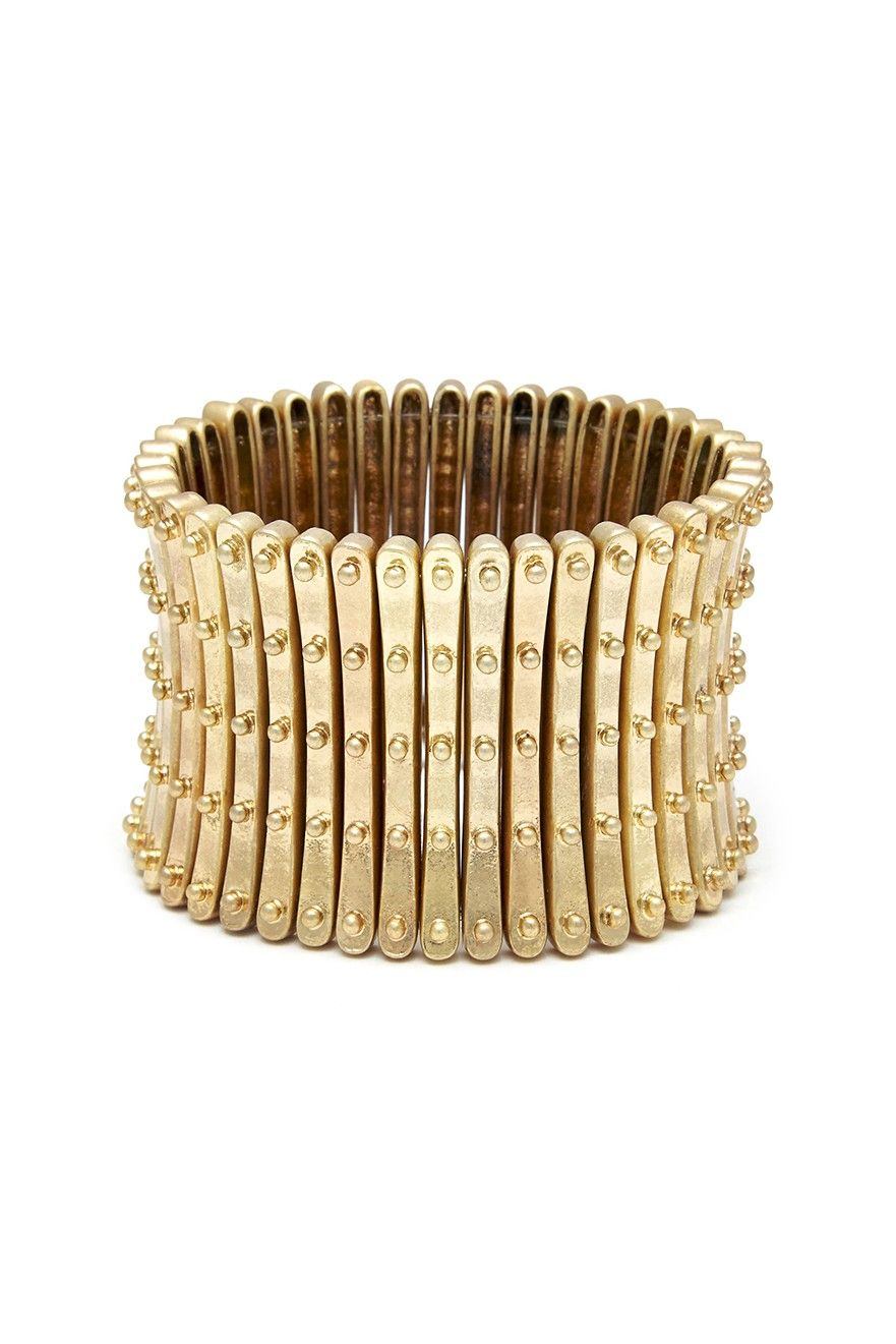 Armor stretch bracelet in antique gold-toned metal