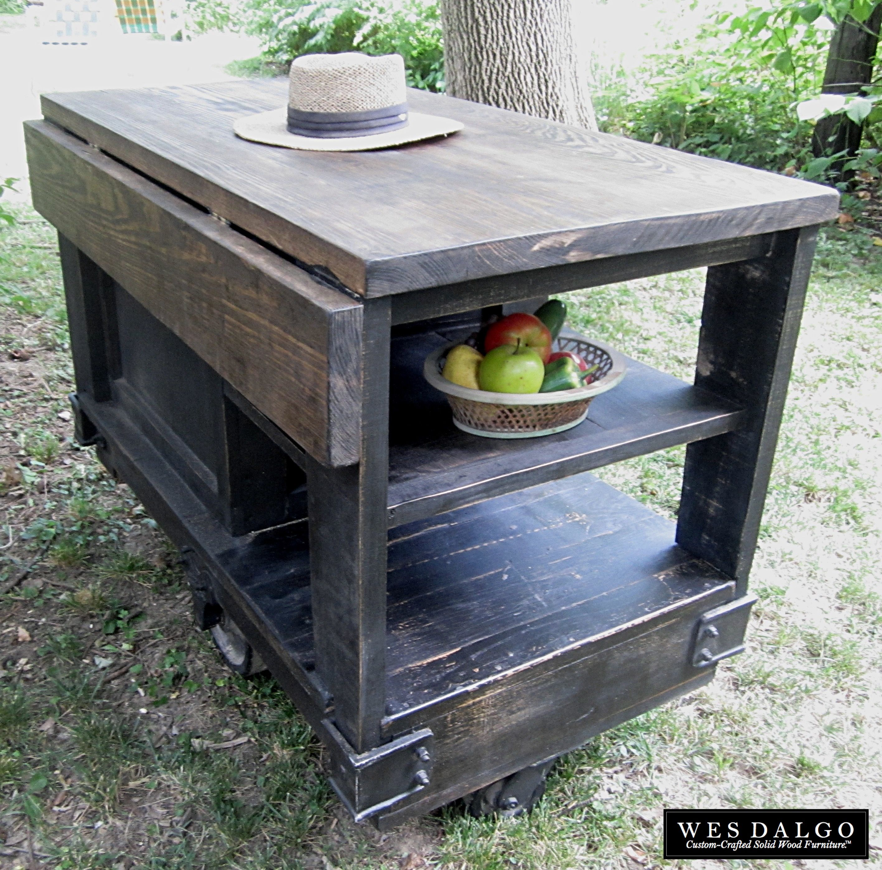 distressed black modern rustic kitchen island cart with walnut rh pinterest com Rustic Wood Kitchen Island Rustic Wood Kitchen Island