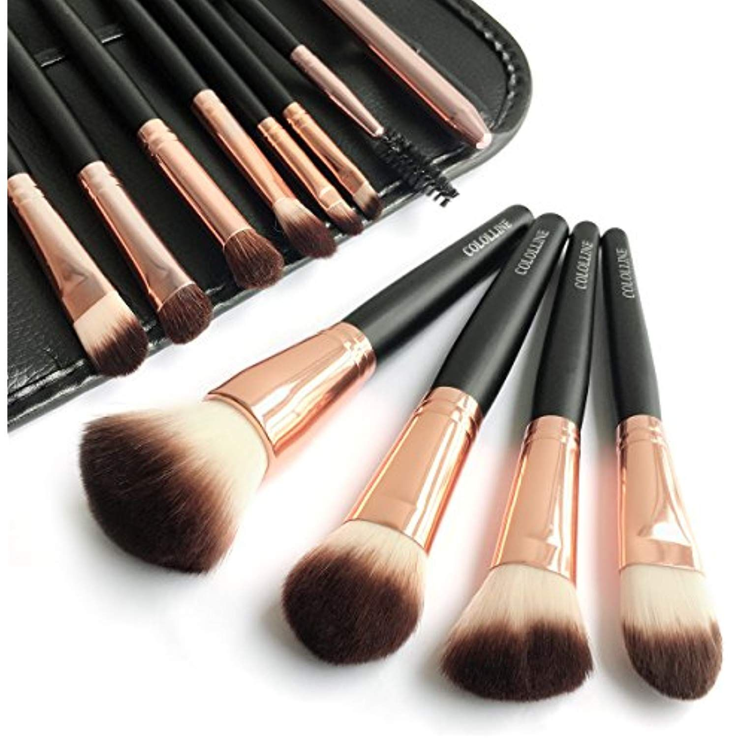 Cololline Makeup Brushes Set 12pcs Soft Synthetic Hair And Nature Bristles Professional Ma Makeup Brush Set Makeup Brush Set Professional Oval Makeup Brush Set
