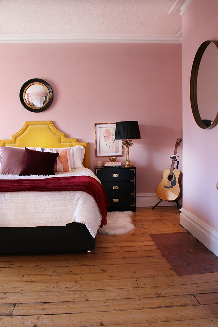 Farrow And Ball Calamine Paint In Bedroom With Accents Of Burgundy Pink Bedroom Walls Pink Master Bedroom Burgundy Bedroom
