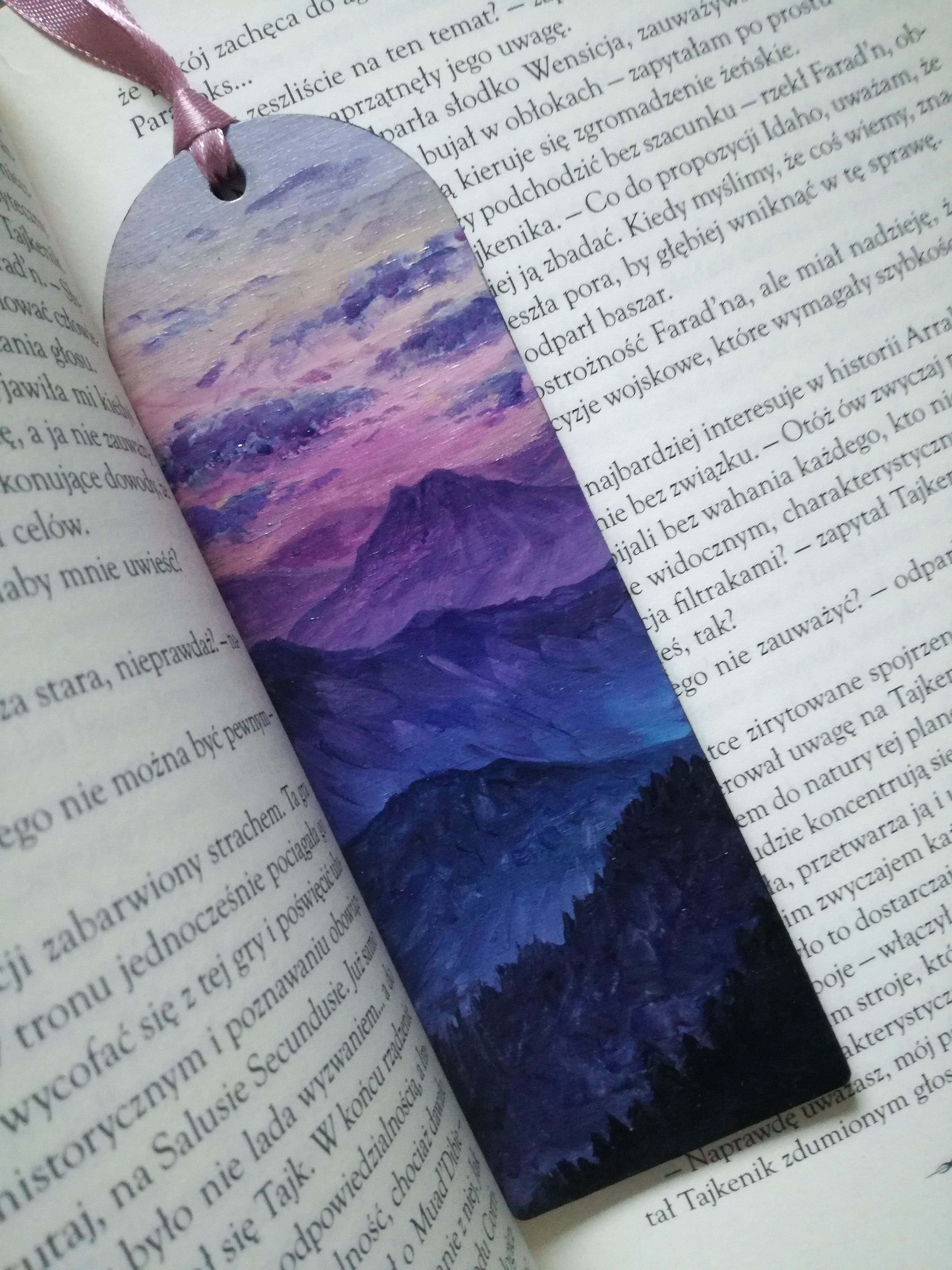 Photo of Wooden bookmark purple clouds mountian landscape miniature acrylic painting