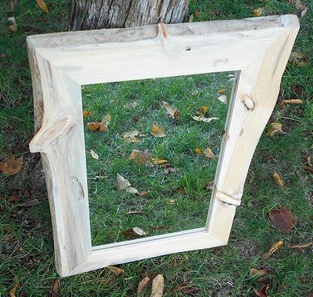 Rustic Framed Mirror Knotty Pine Mirror Frame Natural Edge
