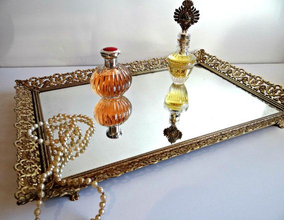 Mid Century Antique Gold Mirrored Vanity Tray Shabby Chic Elegant Metal Filigree Mirror Dresser Hollywod Regency Boudoir