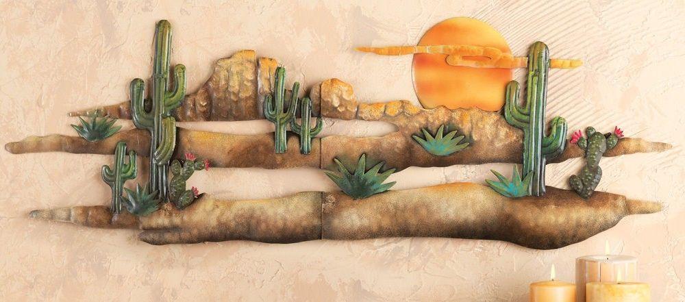 3d Desert Sunset Cactus Southwest Hanging Metal Wall Art Accent Adobe Home Decor Cactus Wall Art Metal Wall Art Hanging Wall Art