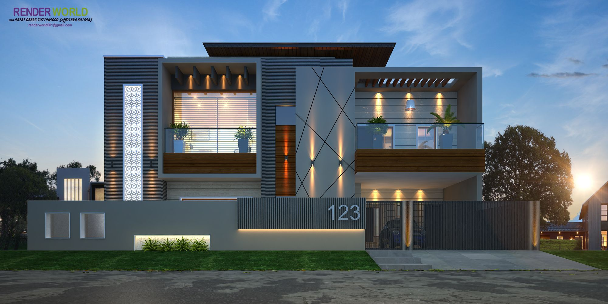 Front Elevation Gate Design : Modern elevation rendring render world house