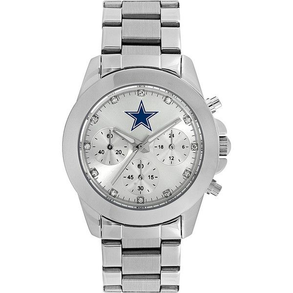 Game Time Knock-Out NFL Watch - Dallas Cowboys - Women's Watches ($50) ❤ liked on Polyvore featuring jewelry, watches, metalic, quartz movement watches, stainless steel jewelry, buckle jewelry, game time watches and dial watches