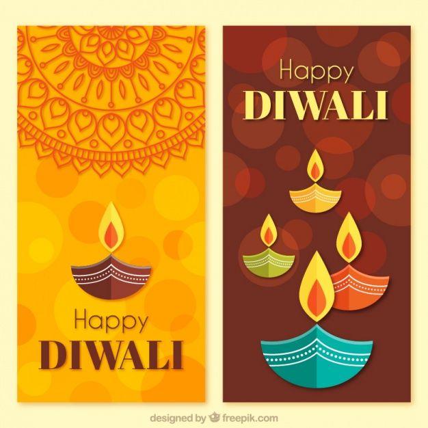 Download Diwali Banners In Flat Design For Free Handmade Diwali Greeting Cards Diwali Diwali Cards