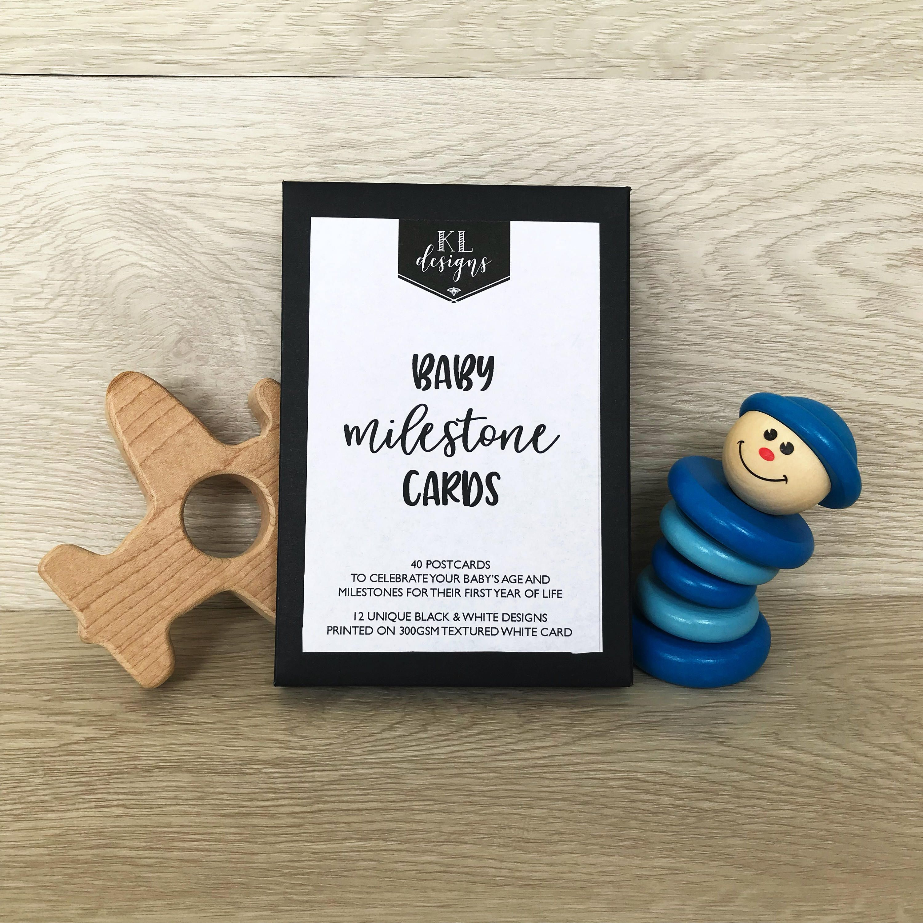 Black and white baby milestone cards box set of 40 cards