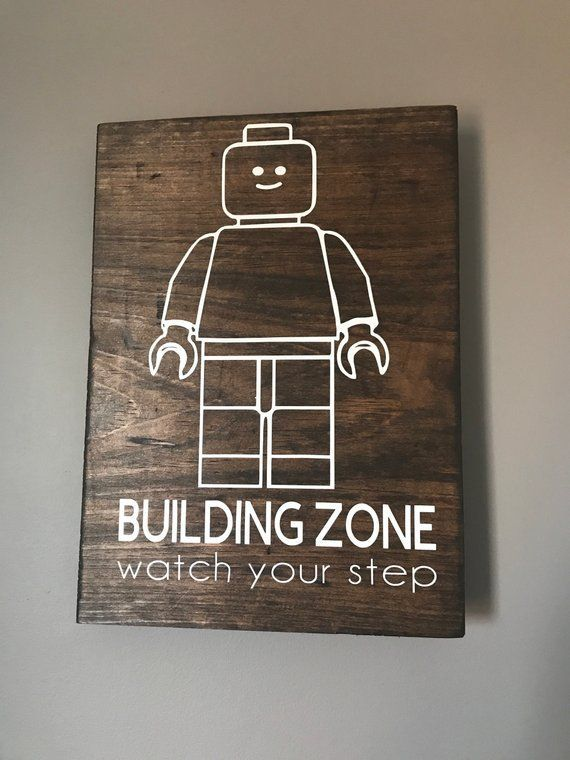 bedroom Wood Signs - LEGO Building Zone Watch your step Kids Bedroom Decor Bedroom Wood Sign Rustic Wood Sign images