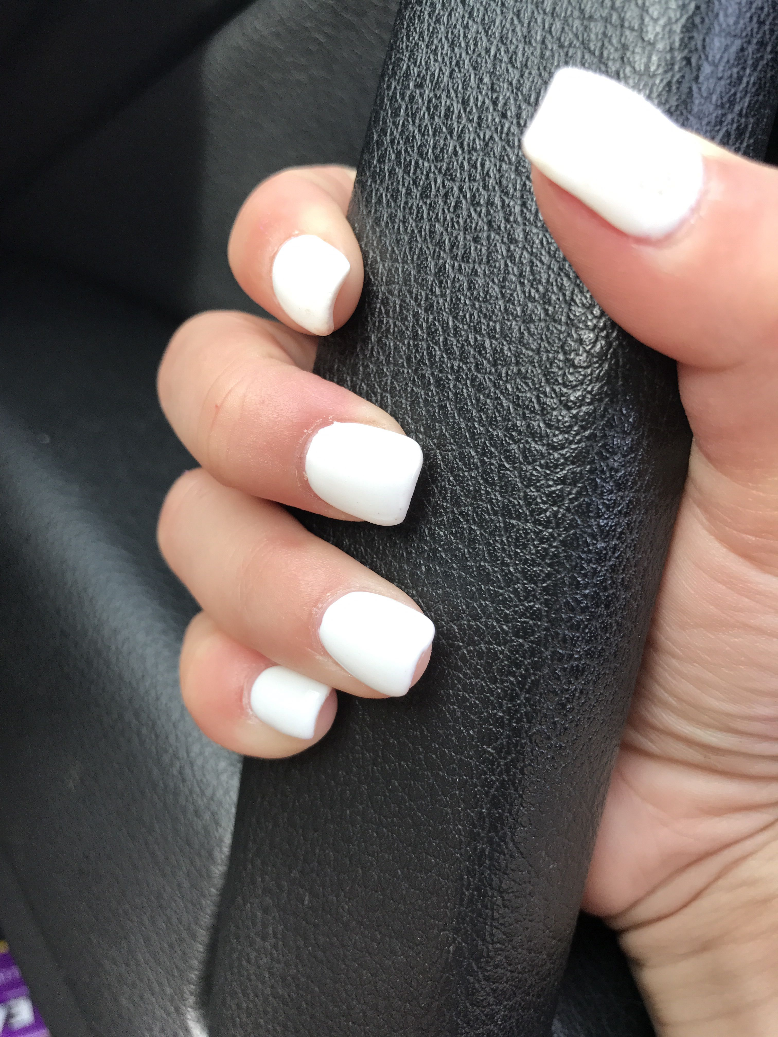 Short white squared acrylic nails
