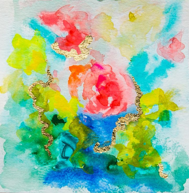 This Modern Abstract Watercolor Painting is created with the finest professional Holbein watercolors for the richest jewel tones of pinks and aqua. It's a one-of-a-kind original abstract painting w...