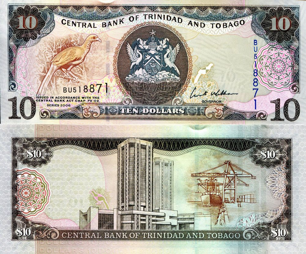 trinidad 10 dollars banknote world currency caribbean money p48 bill bird note world currency. Black Bedroom Furniture Sets. Home Design Ideas
