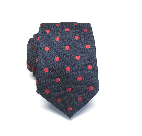 8d8795fc2796 Mens Tie. Navy Blue Red Polka Dot Mens Necktie with Matching Pocket Square  Option