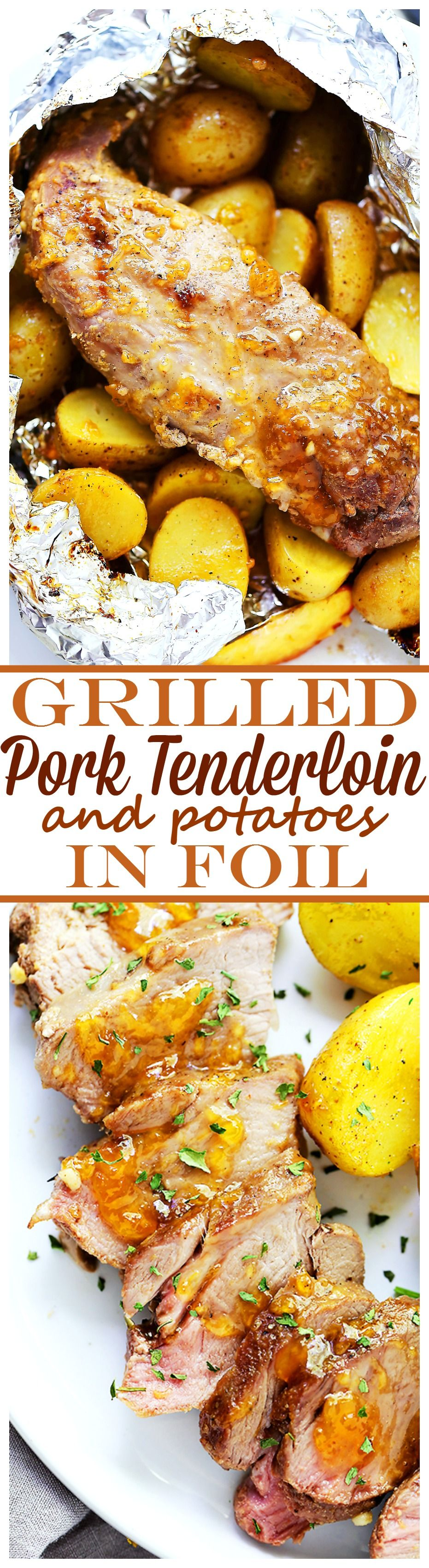 Grilled Peach-Glazed Pork Tenderloin Foil Packet with Potatoes - Glazed with peach preserves and flavored with a hint of garlic, this easy to make meat and potatoes dinner is impressive, incredibly delicious, and since it's grilled in foil packs, cleanup is a snap!