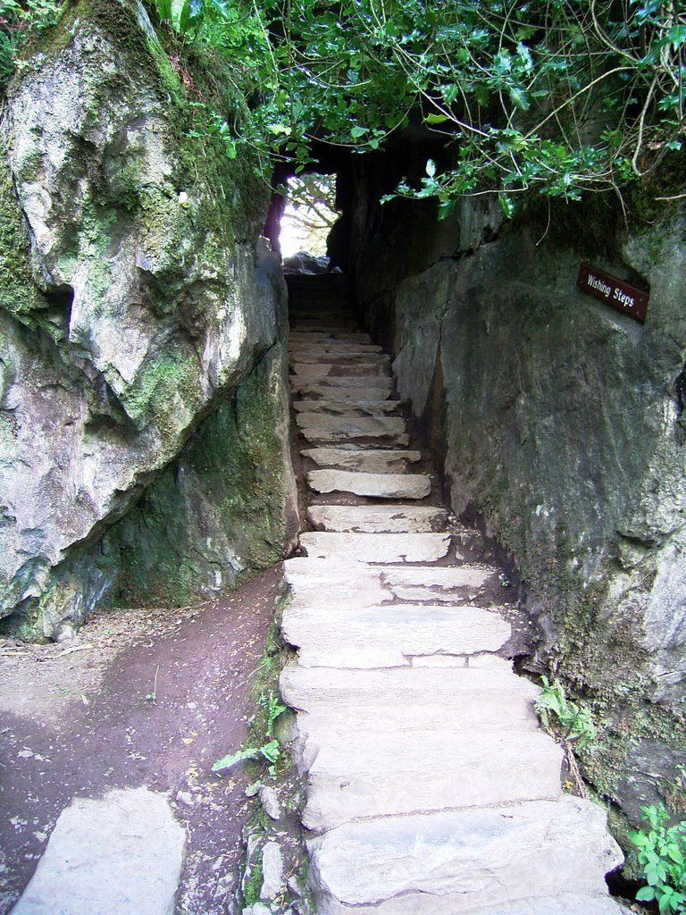 Wishing steps, grounds of Blarney Castle, County Cork, Ireland. Another pinner stated~ (I've walked down these with my eyes closed, as tradition dictates!)