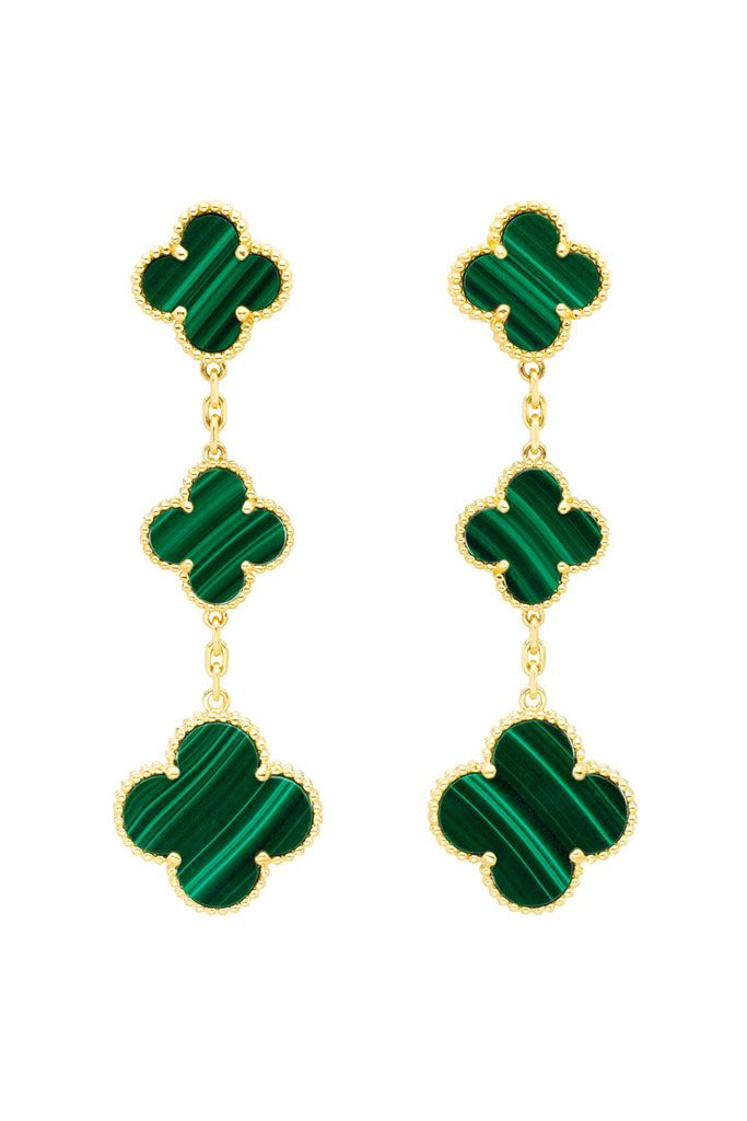 Bling Van Cleef Arpels Fall 2017 Magic Alhambra Emerald Green Earrings