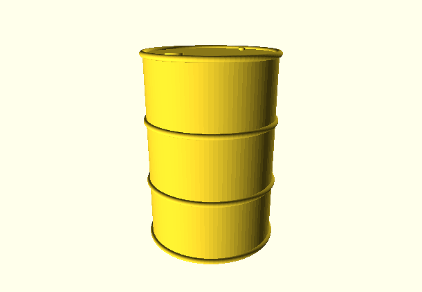 OilBarrelFS.scad | A reasonably accurate standard oil drum - Full Scale