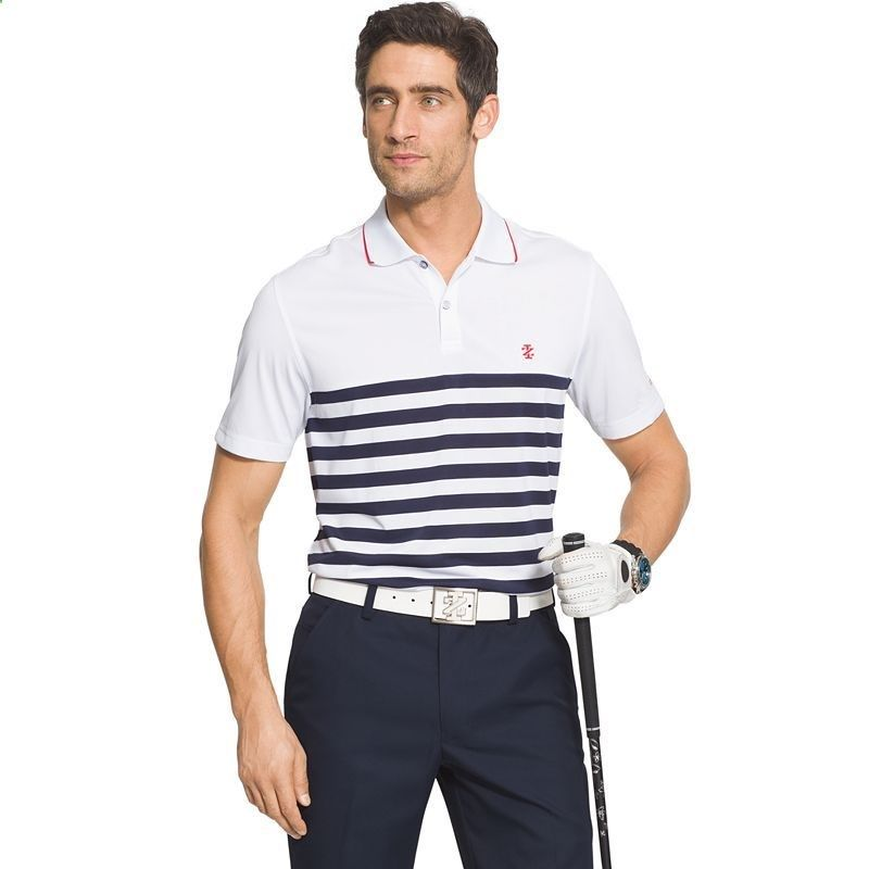 Mens IZOD Classic-Fit Striped Performance Golf Polo, White Oth