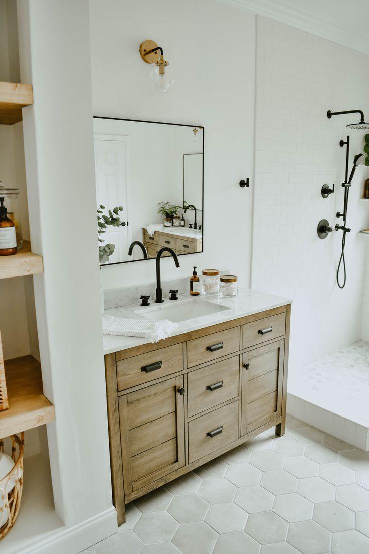Modern Eclectic Bathroom Remodel White Subway Tile Bathroom