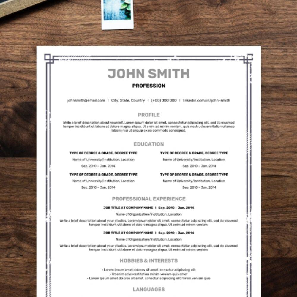 An elegant cv template that highlights your qualifications