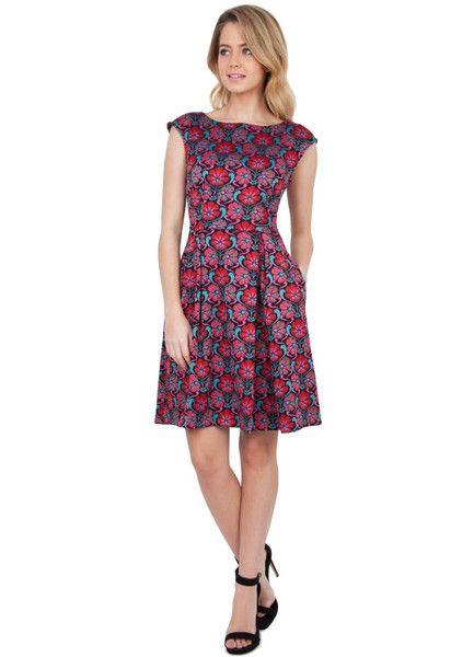 Sukienka Zakardowa W Wielokolorowe Kwiaty Dresses Dress Backs Dresses For Work