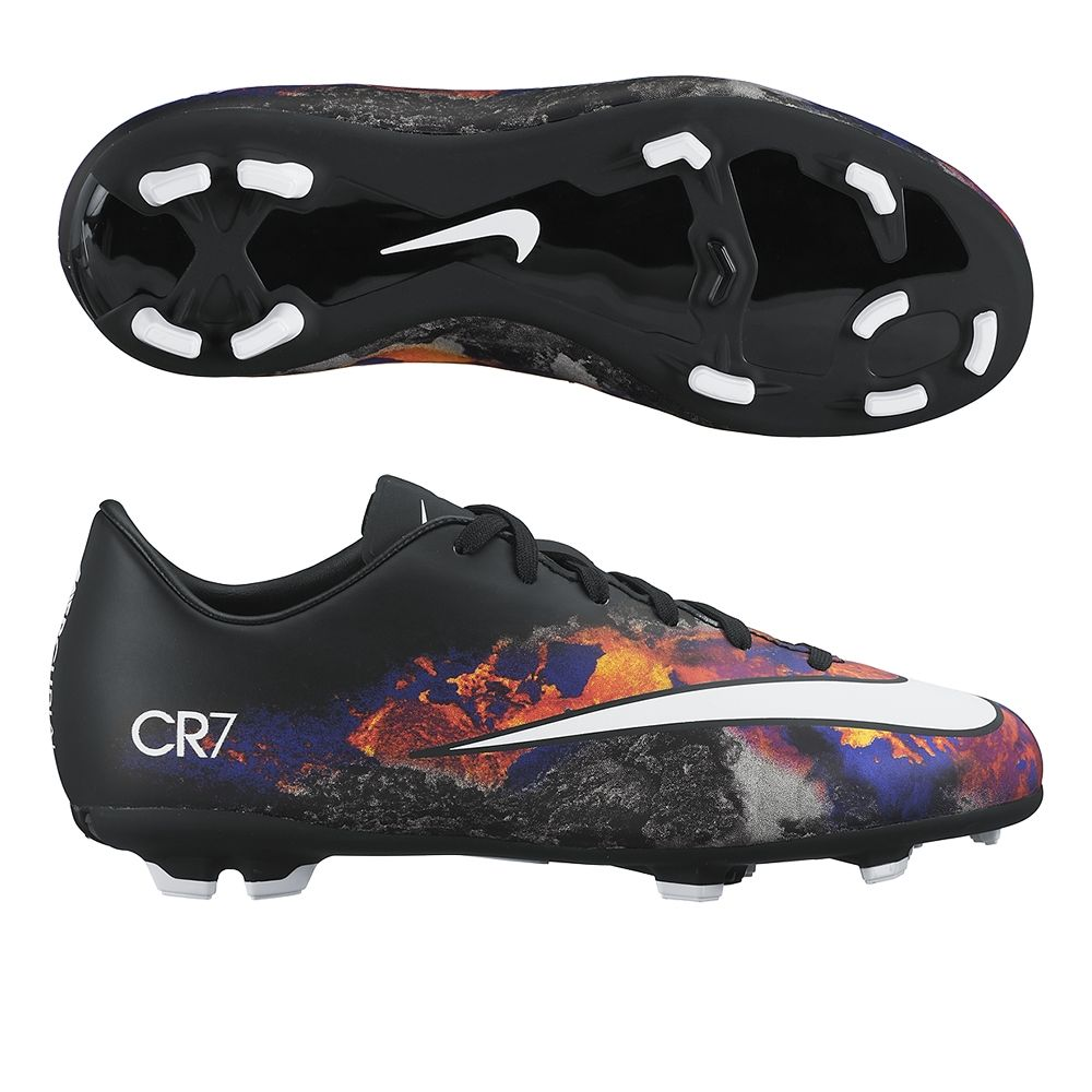 Kids can play fast in the Youth Nike CR7 Mercurial Victory firm ground soccer  cleats.