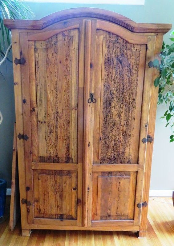 Pottery Barn Rustic Wooden Armoire Handsome Old World Looking Large Armoire Heavily Distressed Wood Dome Top Iron H Wooden Armoire Wood Armoire Rustic Wood