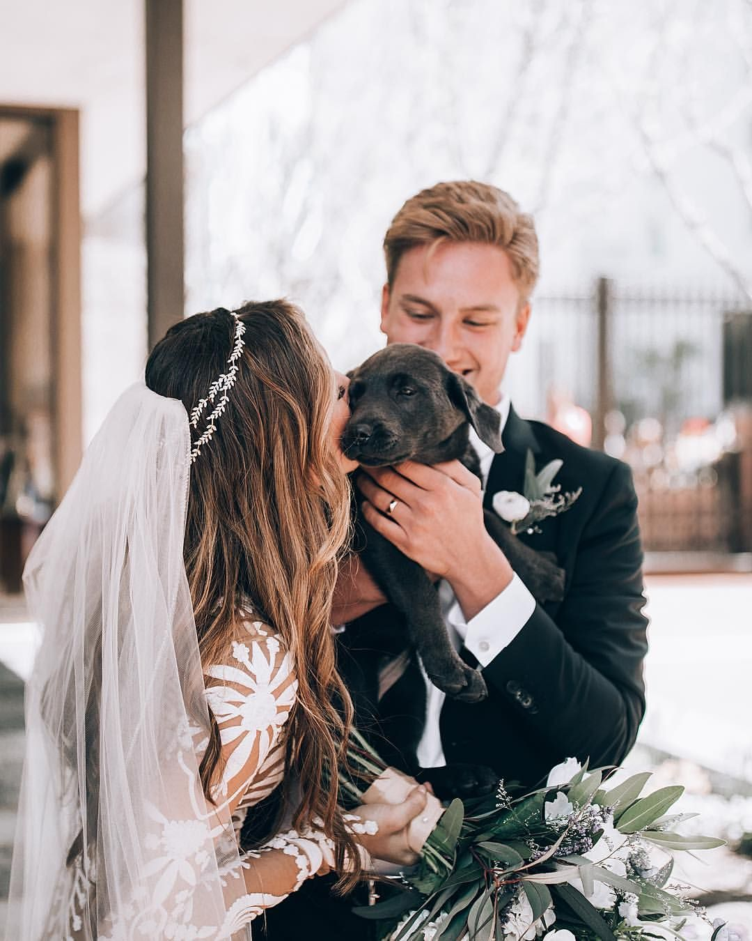 This Pup Was So Excited To See His Newly Married Parents He May Have Had A Little Accident Wedding Pets Wedding Dog Wedding