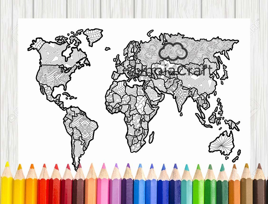 Printable World Map Coloring Page For Kids | 859x1127