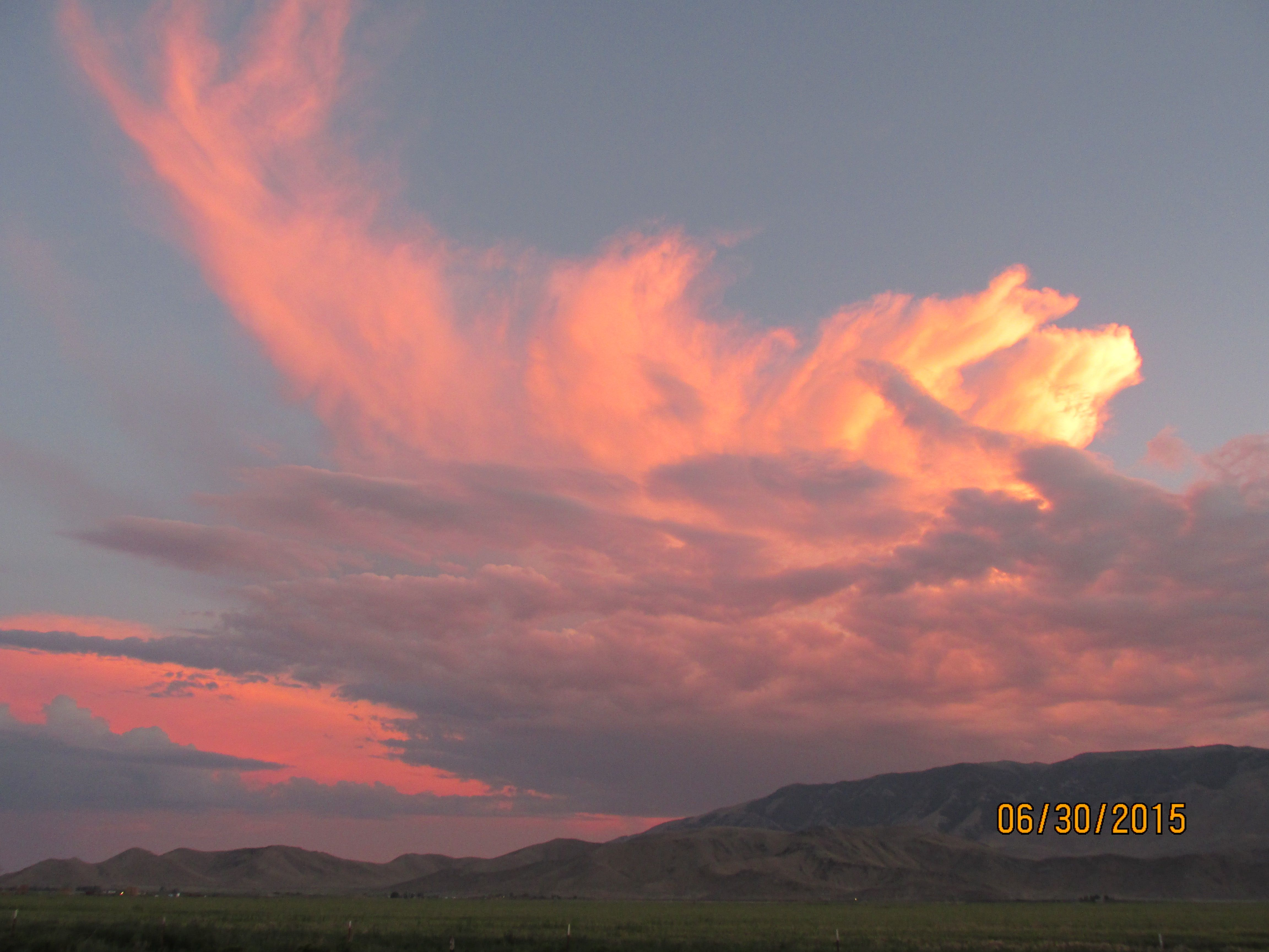 Sunset in Howe, Idaho. Just past the hills is Arco, Idaho
