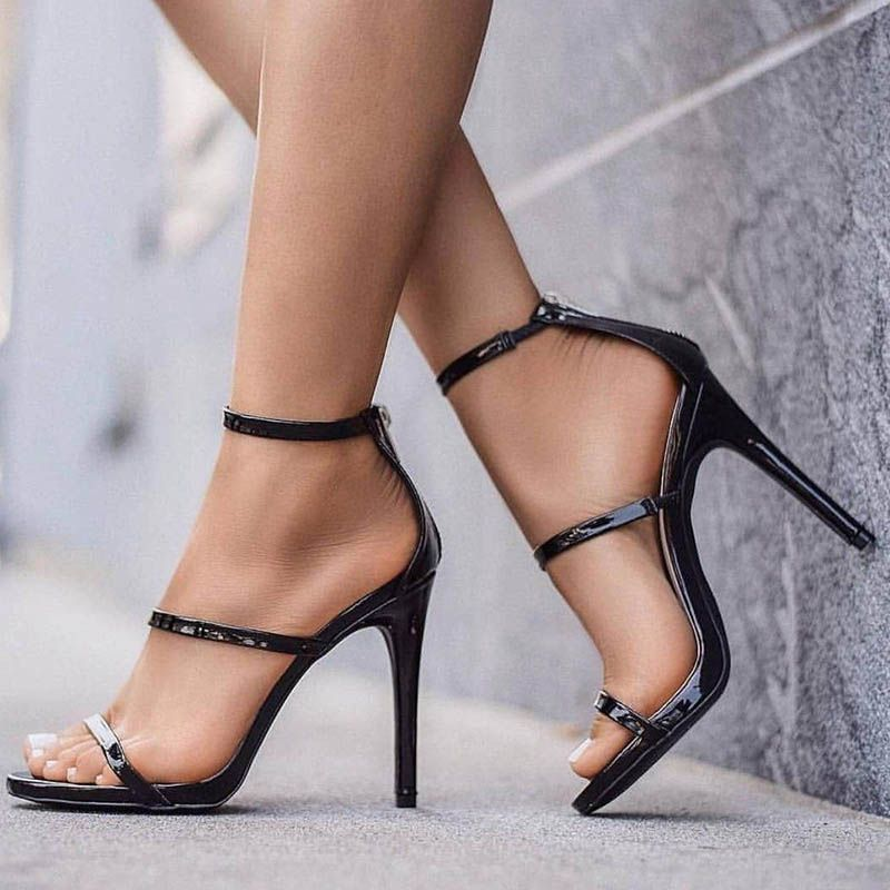 4afd07fa198a3a Sexy Black Open Toe Zipper Stiletto Heel Sandals | Chaussures pour ...