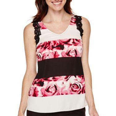 jcp   Worthington® Sleeveless Lace-Trim Top
