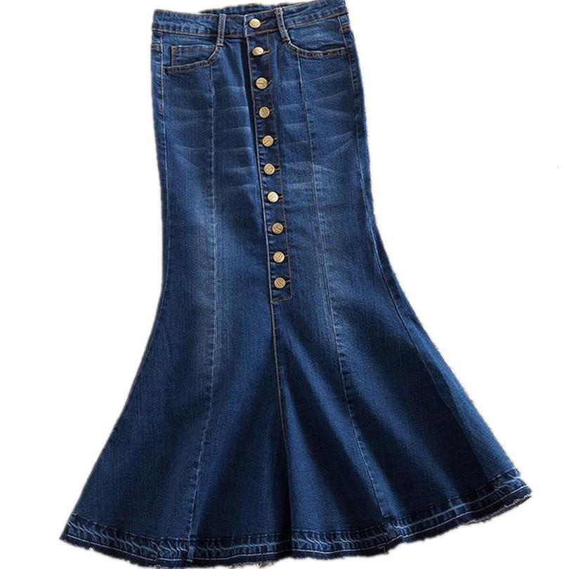 52ce08bce75 plus size denim High waist long denim skirt trumpet mermaid
