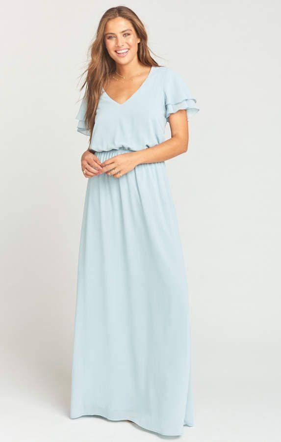 d96b0107340e Show Me Your Mumu Michelle Flutter Maxi Dress ~ Steel Blue Chiffon ...