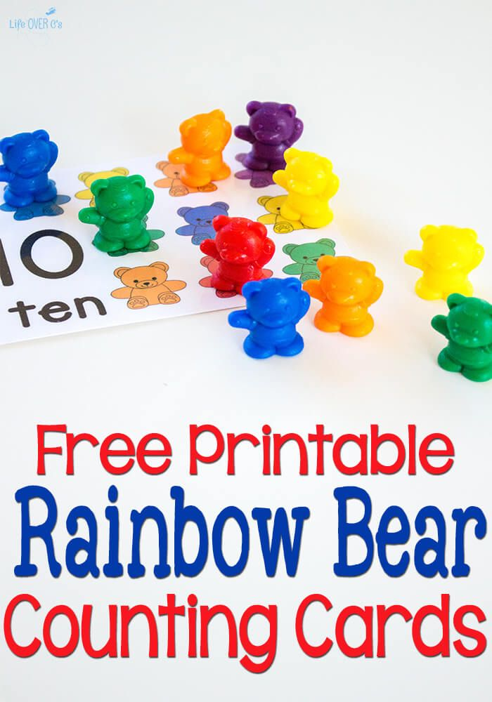 Free Printable Rainbow Bear Counting Cards Learning With Life Over