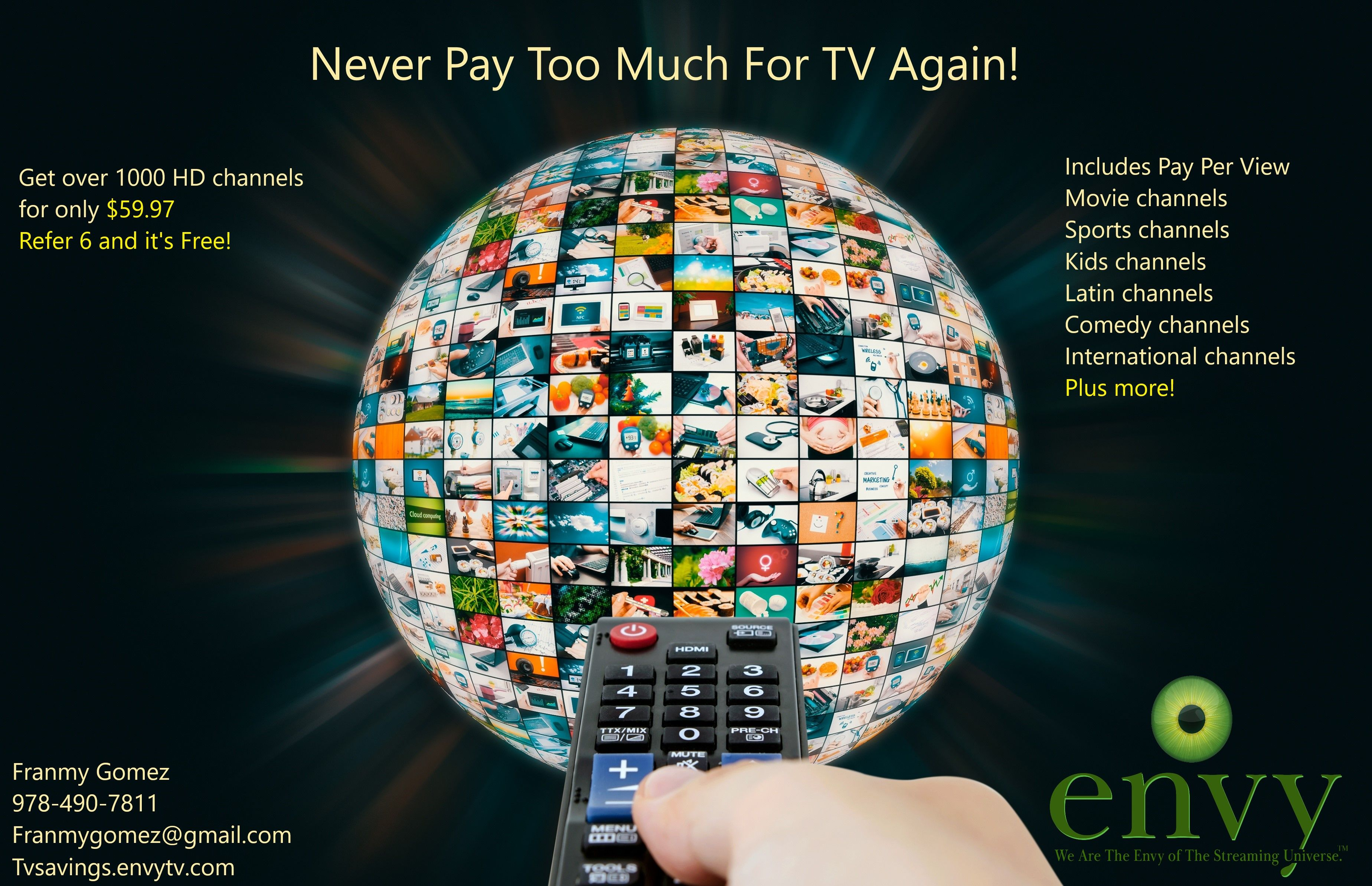 Get our new improved live TV app envyTV with over 1000