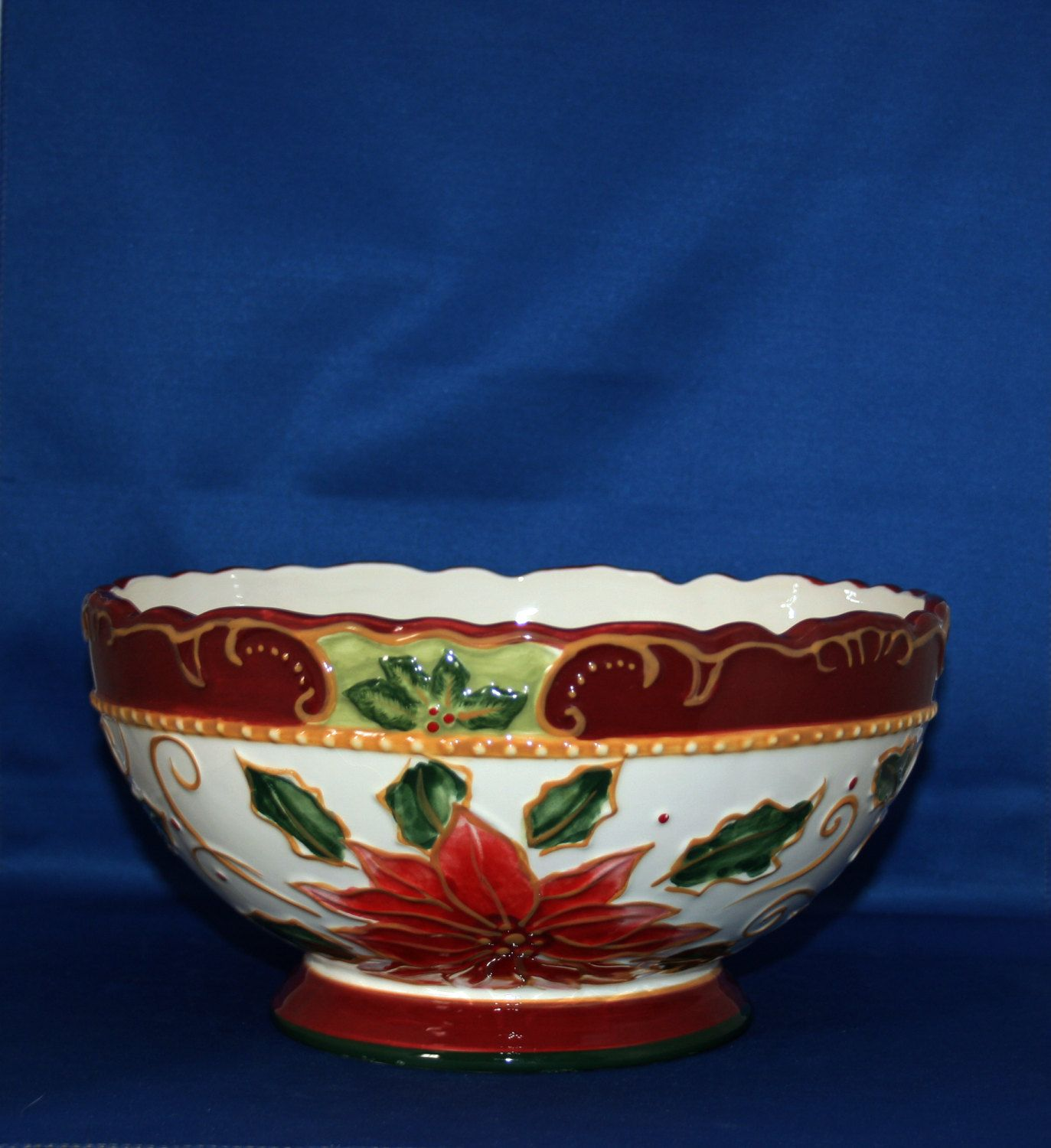 Decorative Ceramic Bowls Vintage Christmas Decorative Ceramic Bowl Poinsettias Holly Leaves