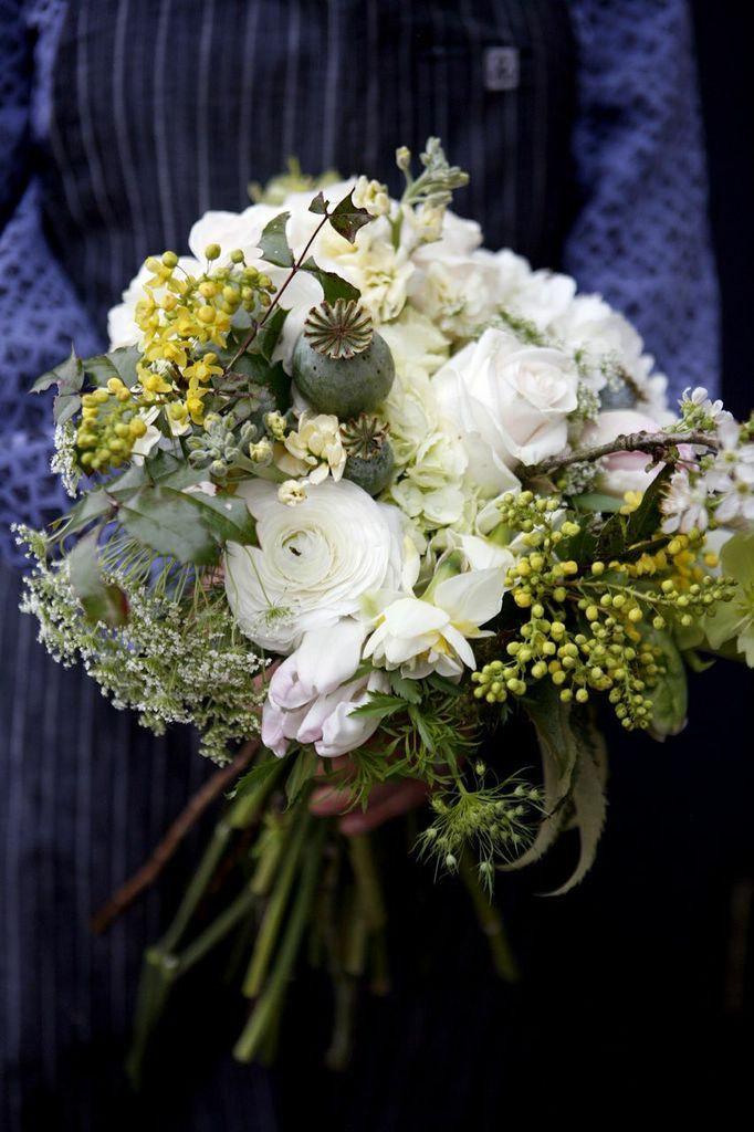 Spring Ranunculus Mahonia Poppy Pods And Queen Anne S Lace