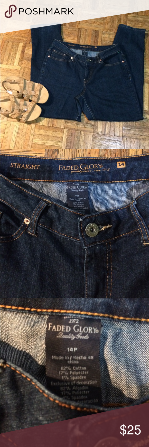 FEDED GLORY JEANS  SIZE 14p This is a very nice pair faded glory jeans 👖 size 14 Straight leg dimensions are waist  39 hips 42 inseam 29 length 39 ,these are straight leg jeans. feded glory Jeans Straight Leg