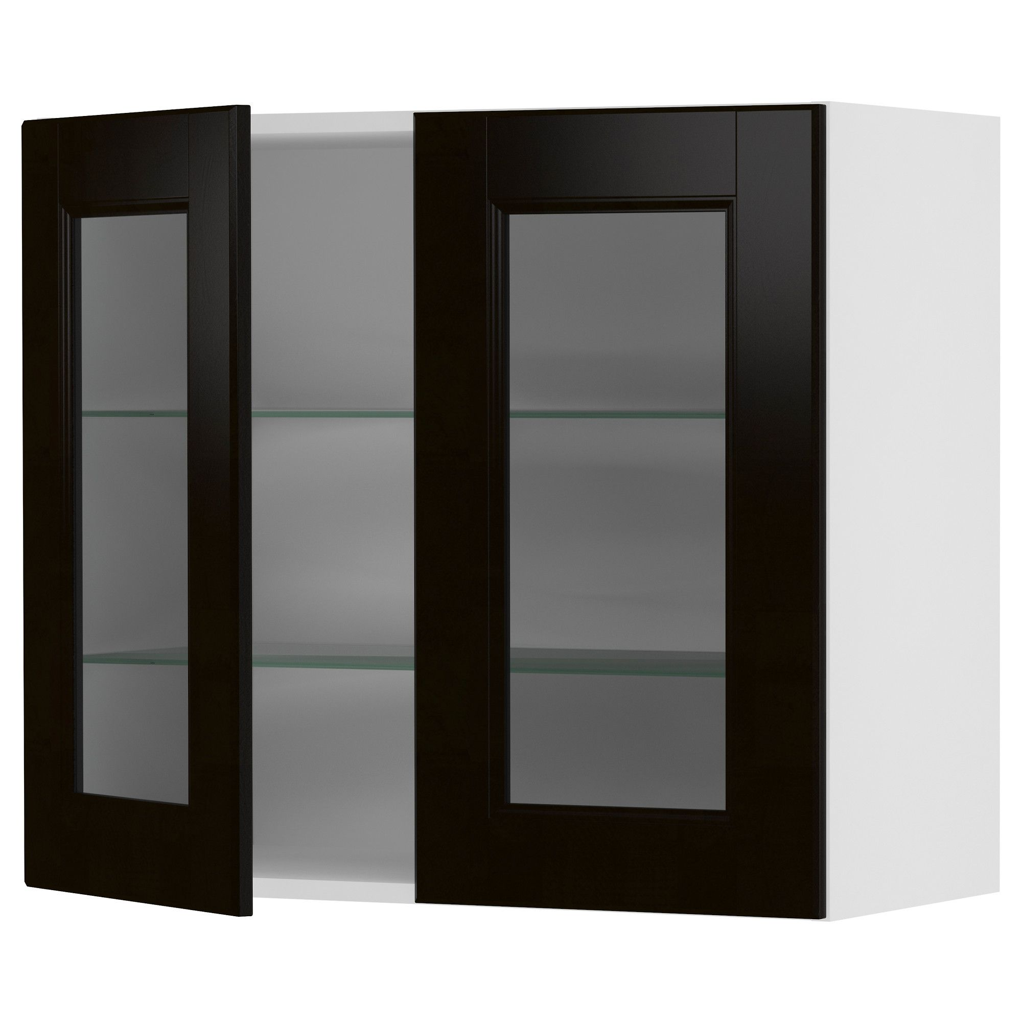 akurum wall cabinet with 2 glass doors white ramsjö black brown