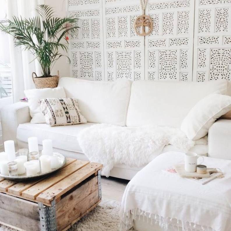 Room redo: Urban boho chic all white living room images