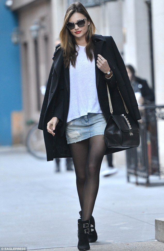 How to Wear a Miniskirt in Winter | Denim mini skirt, Mini skirts ...