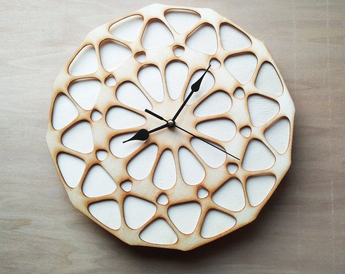 10 Off Laser Cut Wall Clock Cutting Wood Modern Design Parametric Flower Unique