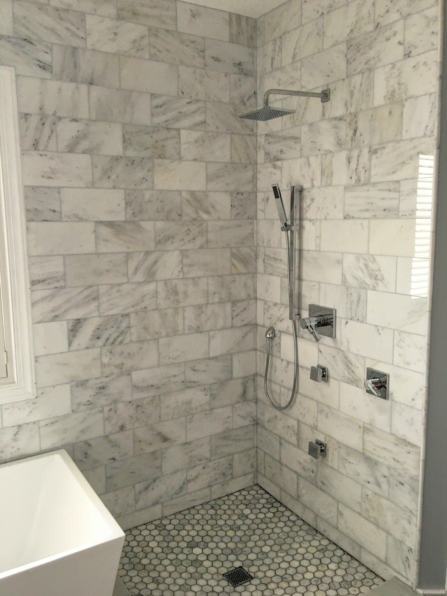 6x12 Bianco Carrara Marble Shower Polished Finish Floor Tile Design Bathroom Tile Installation Shower Wall Tile