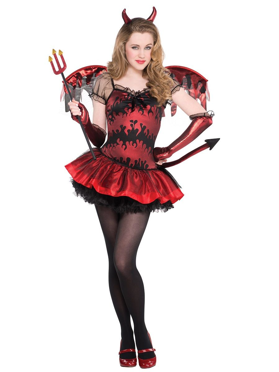 Childs Teens Girls Red Hot Stuff Devil Dress Halloween Fancy Dress Party Costume