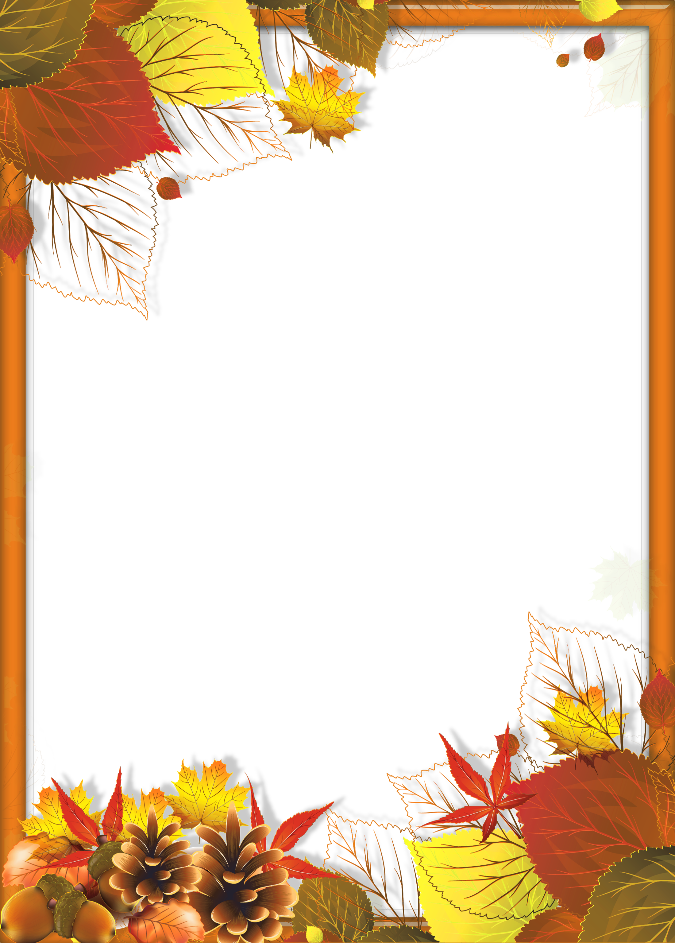 Transparent Fall PNG Frame with Leaves | apsveikumi ...